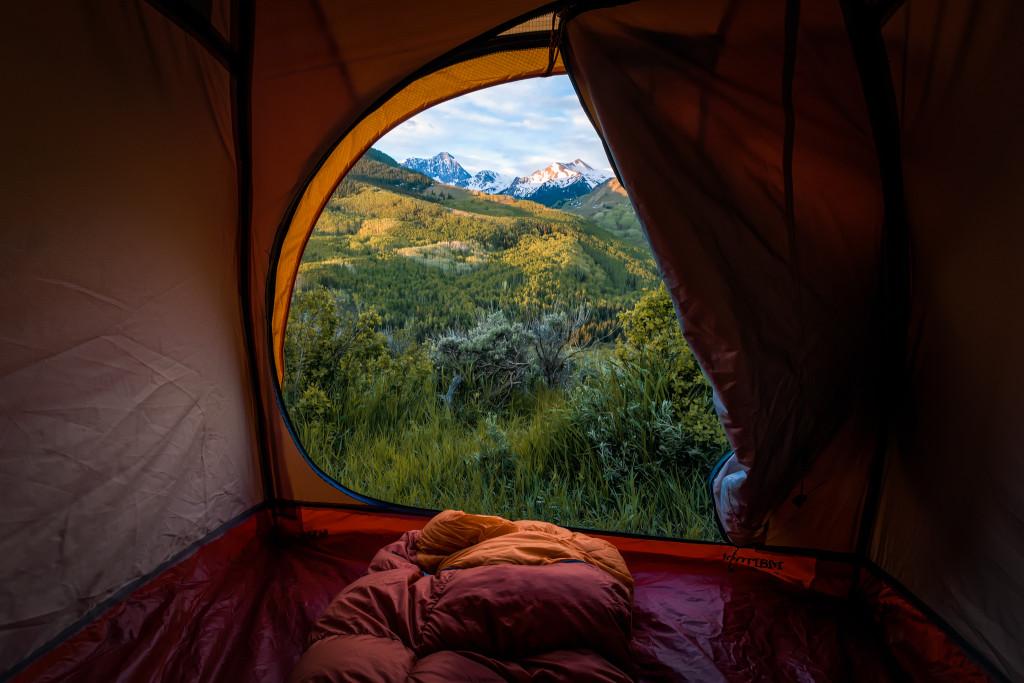 Capital Peak, just outside of Aspen, Colorado through a tent window